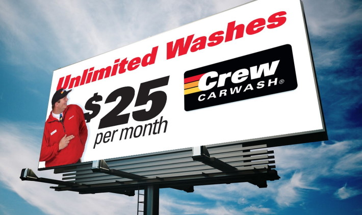 outdoor billboard for Crew Carwash campaign